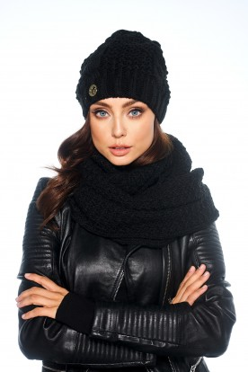 SET: classic cap and chimney scarf LC111 black