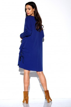 Simple long sleeved dress with creases LN114 navy