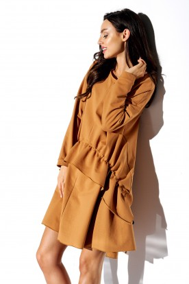 Simple long sleeved dress with creases LN114 caramel