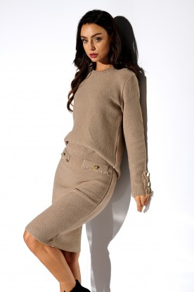 SET: elegant sweater and skirt LSG118 camel