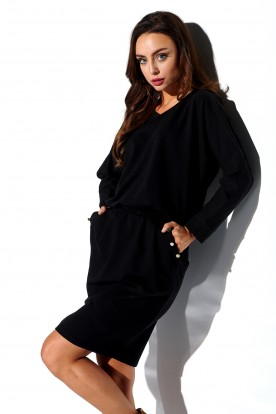 Sweatshirt longsleeved dress with pockets L322 black