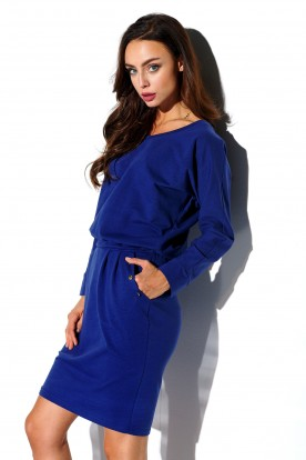 Sweatshirt longsleeved dress with pockets L322 navy