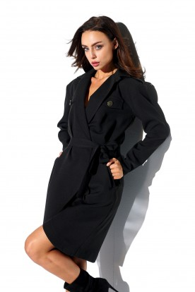 Wrap dress with pockets and tied waist L323 black