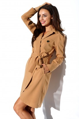 Wrap dress with pockets and tied waist L323 camel