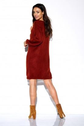 Sweater dress with wide sleeves LSG117 copper