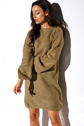 Sweater dress with wide sleeves LSG117 cappuccino