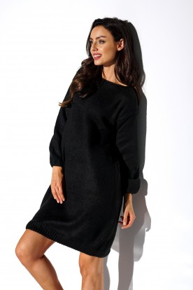 Sweater dress with wide sleeves LSG117 black
