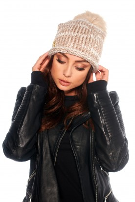 Baggy cap with pompom LC113 cappuccino