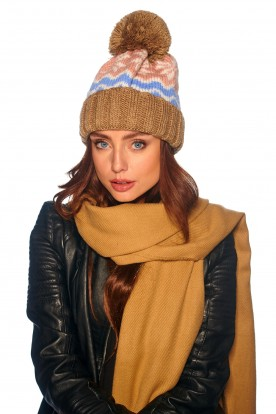 Colourful cap in patterns LC116 cappuccino
