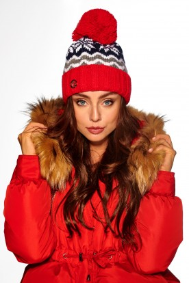 Colourful cap in patterns LC116 red