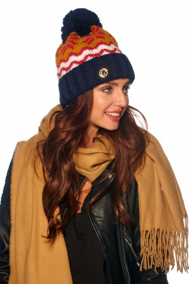 Colourful cap in patterns LC116 camel-navy
