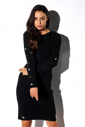 Sweater dress with buttoned sleeves LS270 black
