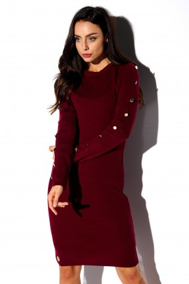 Sweater dress with buttoned sleeves LS270 crimson
