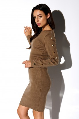 Sweater dress with buttoned sleeves LS270 cappuccino