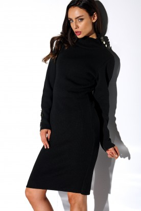Sweater dress with buttons and turtleneck LS271 black