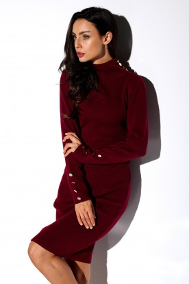 Sweater dress with buttons and turtleneck LS271 crimson