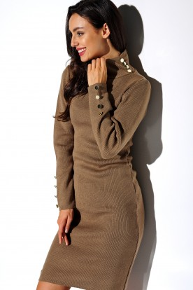 Sweater dress with buttons and turtleneck LS271 cappuccino