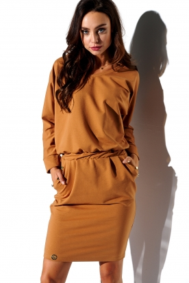 Sweatshirt longsleeved dress with pockets L322 caramel