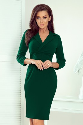 237-3 KELLY Elegant dress with a neckline - GREEN