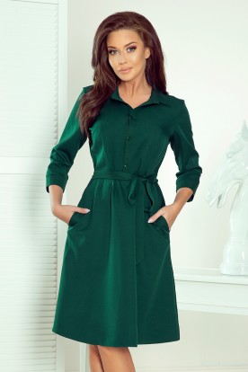 286-1 SANDY Flared shirt dress - green