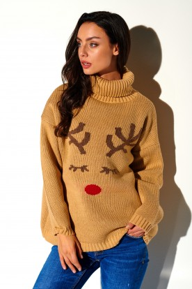 Turtleneck with reindeer LS266 camel