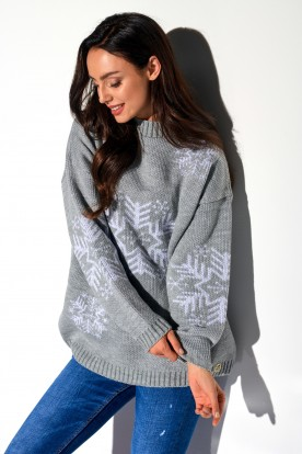 Turtleneck snowflake LS267 light grey