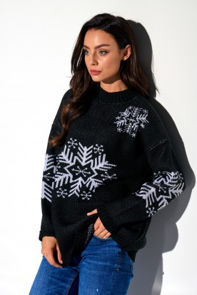 Turtleneck snowflake LS267 black