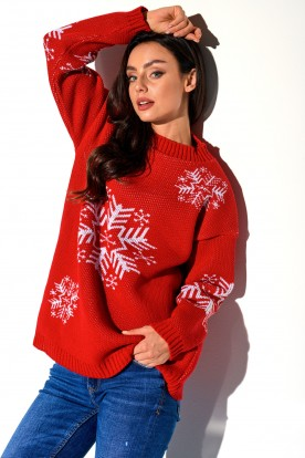 Turtleneck snowflake LS267 red