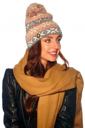 Cap with pompom in patterns LC117 light grey
