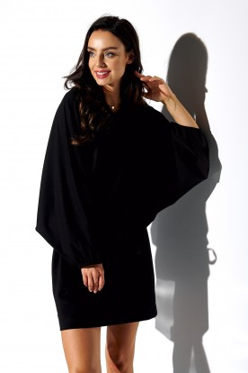 Sweatshirt dress with wide sleeves LN113 black