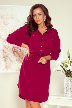 258-1 BROOKE Shirt dress - Burgundy color