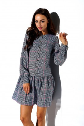 Shirt dress with frill and buttons L311 print 4