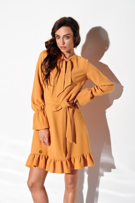 Dress with frill and tie at the neck L, colour 317 camel
