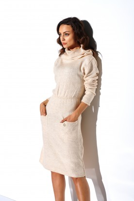 Sweater dress with turtleneck and pockets LS257 beige