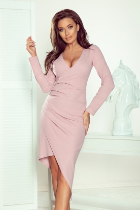 290-1 Asymmetrical dress with a neckline and draping - LILA