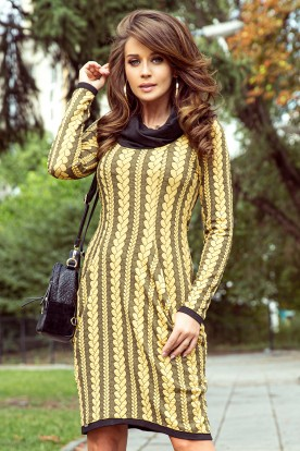 277-1 Dress with turtleneck and pockets - braid