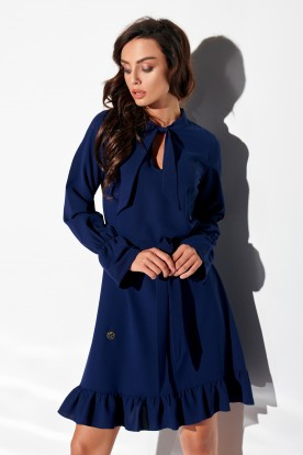 Dress with frill and tie at the neck L, colour 317 navy