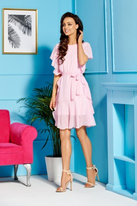Chiffon dress with frills L303 powder pink