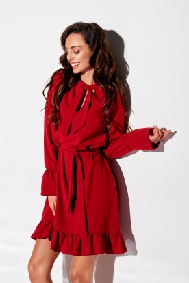 Dress with frill and tie at the neck L, colour 317 crimson