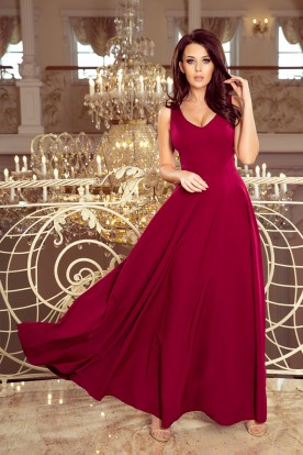 246-1 CINDY long dress with a neckline - burgundy