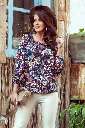 271-2 Blouse with tie - colorful flowers