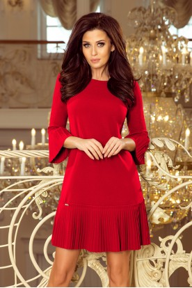228-3 LUCY - pleated comfortable dress - RED