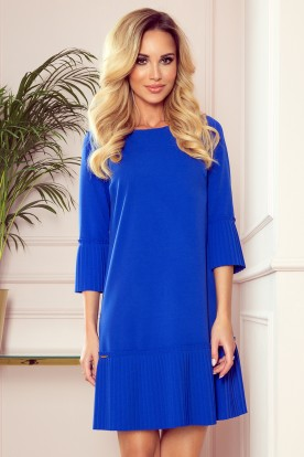 228-8 LUCY - pleated comfortable dress - Royal Blue
