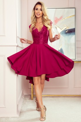 300-4 PATRICIA - dress with longer back with lace neckline - Burgundy color