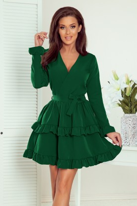 297-1 CAROLINE dress with frills and envelope neckline - green