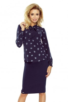 Blouse with bond - dark blue + flowers 140-6
