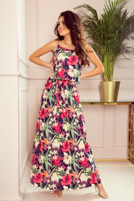 294-1 A long summer dress with straps - red flowers