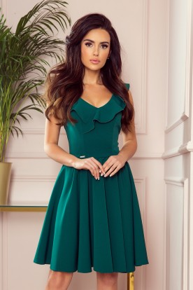 307-2 POLA dress with frills on the neckline - green