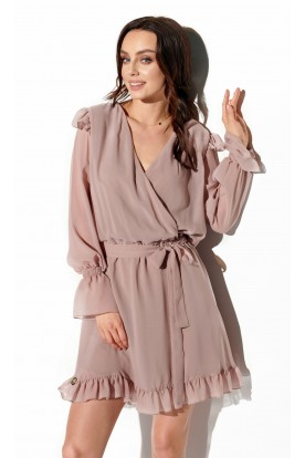 Chiffon long sleeved dress with envelope neckline L324 cappuccino