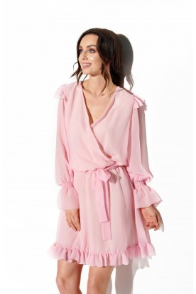 Chiffon long sleeved dress with envelope neckline L324 powder pink